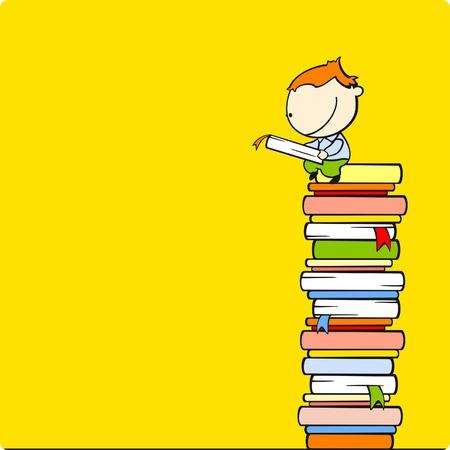 stapel papieren: Jongen lezen van een boek op een top van een berg boek Stock Illustratie