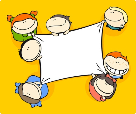 copyspace: Cute cartoon kids holding a canvas