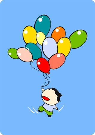 Little boy flying with a bunch of balloons Vector