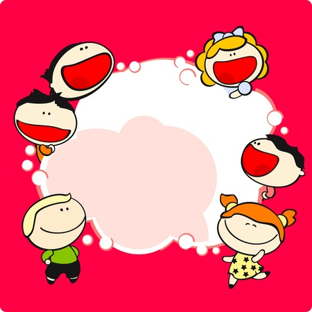 Funny kids and thinking bubble Vector