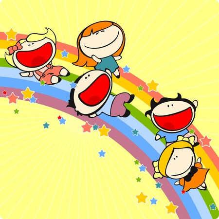 Kids sliding on a rainbow Vector