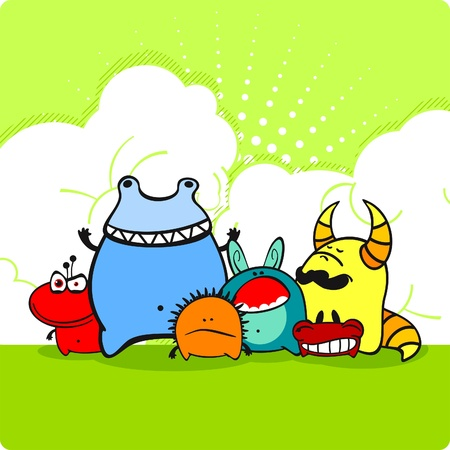 Group of angry monsters Ilustracja