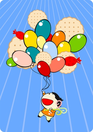 Boy with a bunch of balloons Vector