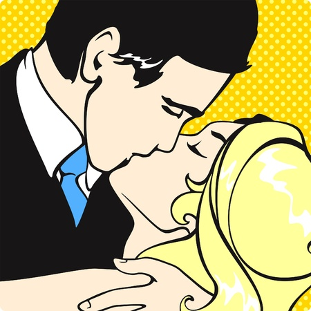 Kissing couple Stock Vector - 9351637