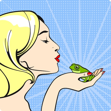 pop: Young woman kissing a frog Illustration