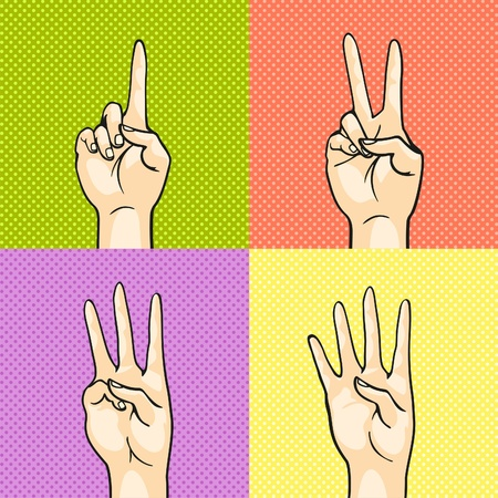 Gesturing hands showing numbers - one, two, three, four Vector