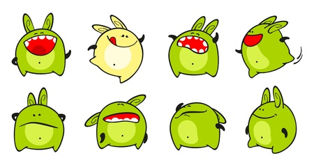 Set of images of a small green monster Vector