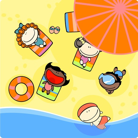 Kids on a beach Vector