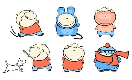 Funny kids #42 - chubby boy set Vector