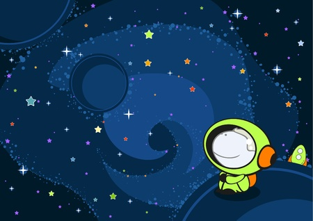 astronaut in space: Little astronaut in an open space