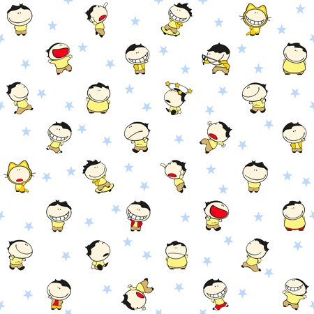 Seamless pattern with cute cartoon boys Vector
