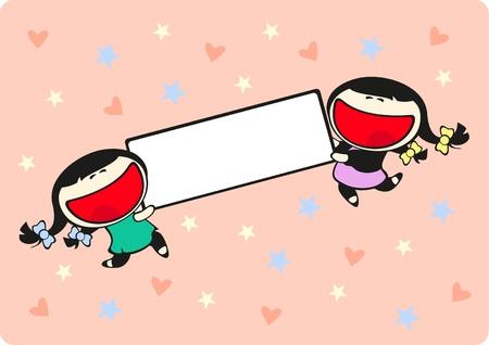 ni�as gemelas: Ni�as gemelas sosteniendo una etiqueta