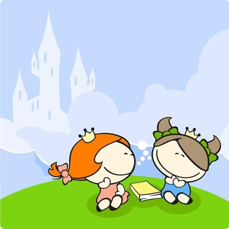 Las niñas lindos soñando con ser princesas Foto de archivo - 9897527