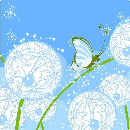 Dandelions and butterfly Vector
