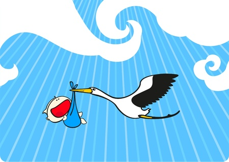 Stork flying with a baby boy Vector