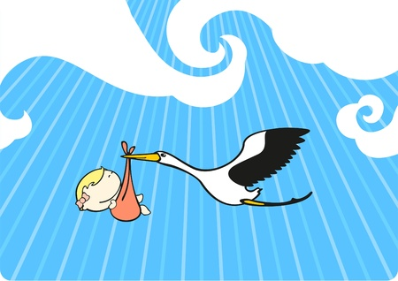 Stork flying with a baby girl Vector