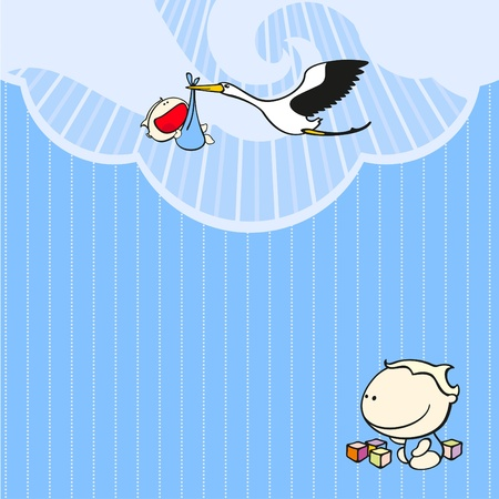 Card with a stork and a baby boy Vector