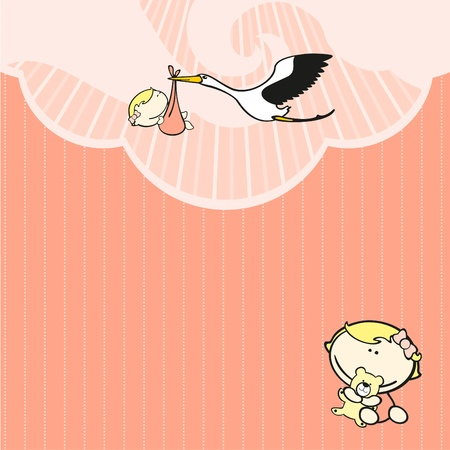 Card with a stork and a baby girl Vector