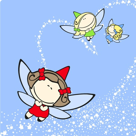 Cute fairies trio flying Illustration