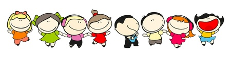 cartoon kid: Set of images of funny kids on a white background #49, dance theme