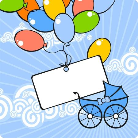 bebe a bordo: Tarjeta con un carro de beb� y globos