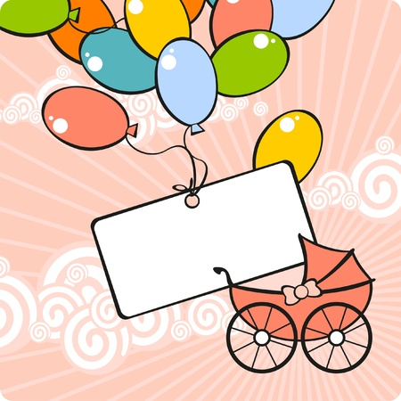 baby on board: Card with a baby carriage and balloons