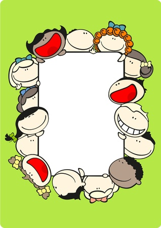 interact: Vertical frame with kids Illustration