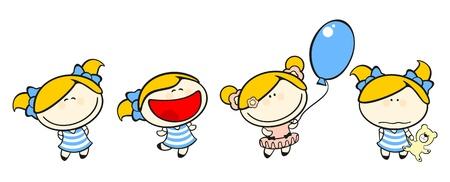 Funny kids #50 - blonde girl set Stock Vector - 10289018