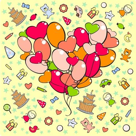 Set of birthday symbols Stock Vector - 10845802