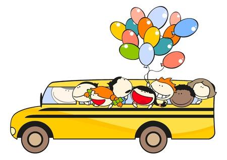 niño escuela: Alumnos de un autobús escolar Vectores