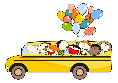 happy driver: Pupils in a school bus Illustration