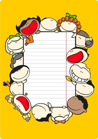 lineas verticales: Marco de tema de escuela vertical con niños