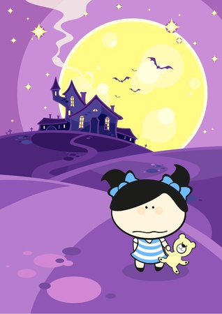 Creepy halloween girl standing against the scary house Vector