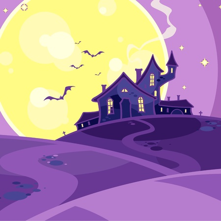 Scary house on a hill Vector