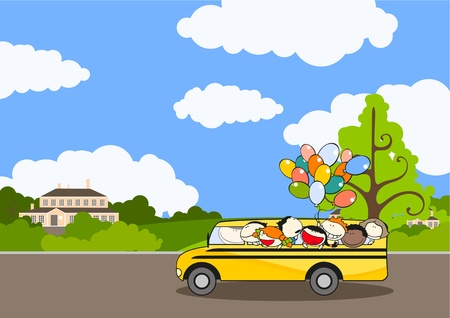 Road to school Illustration