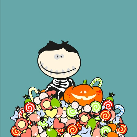 Boy in a halloween costume of a skeleton sitting on a top of a sweets heap Vector