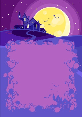Halloween background with a scary house on a hill Vector