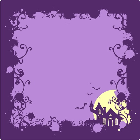 full frame: Halloween background with a scary house silhouette