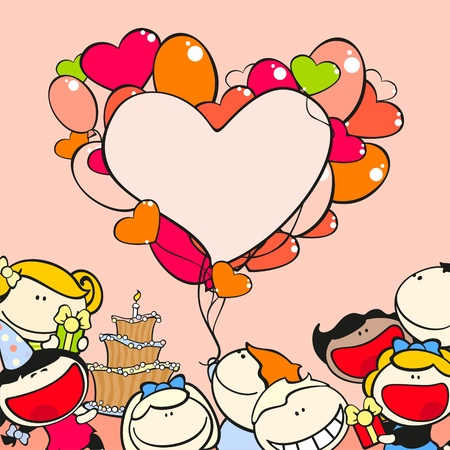 happy people: Birthday frame with kids and balloons Illustration