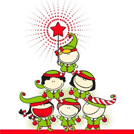 duendes de navidad: Chicos lindos con trajes de duendes cre� una pir�mide �rbol de Navidad
