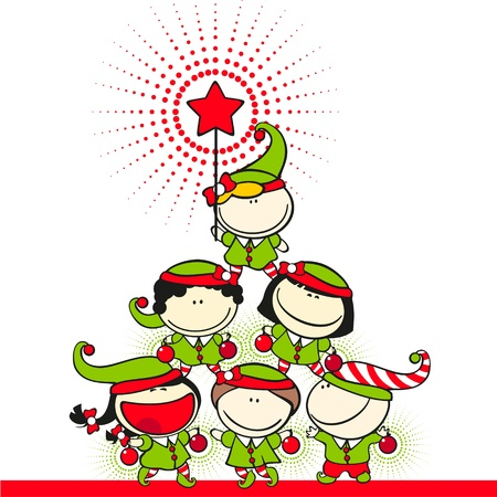 christmas christmas tree: Cute kids in costumes of elves created a christmas tree pyramid Illustration