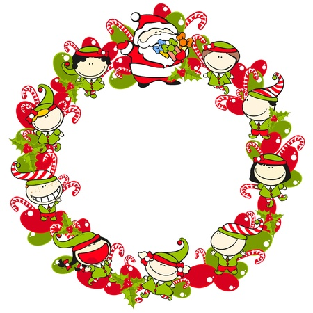 Christmas wreath with elves and Santa Claus