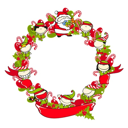 Christmas wreath with a ribbon Vector
