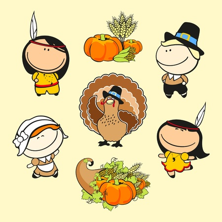 native american art: Set of images of funny kids #59, thanksgiving day theme