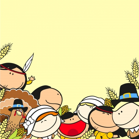 Thanksgiving day background with kids Vector