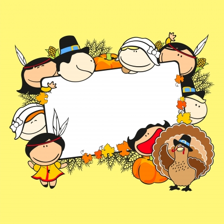 Thanksgiving day frame with kids Vector