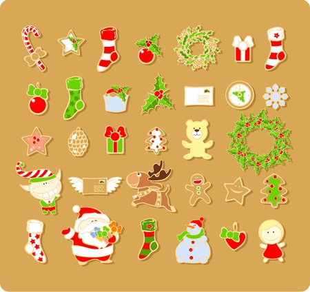 christmas cookie: Big set of Christmas elements  Illustration