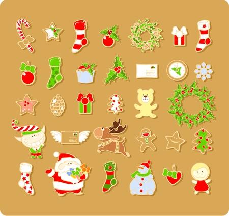 elf christmas: Gran conjunto de elementos navide�os