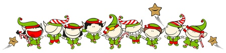 Funny kids #60 - Christmas elves Vector