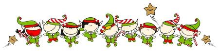 Funny kids #60 - Christmas elves 向量圖像